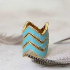 Stacked Chevrons Ring in Mint