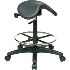 Sit down on this comfortable saddle-seat stool from Office Star and enjoy the plush padded seat. Ideal for office workers or healthcare professionals, this adjustable-height stool is equipped with several wheels that allow for easy movement.