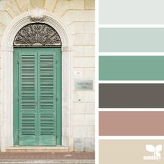 a door hues color palette from Design Seeds Colour Pallette, Colour Schemes, Color Combos, Green Pallete, Living Room Green, Design Seeds, Green Accents, Color Swatches, House Colors