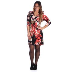 This classic, Plus Size multi-print dress by 24/7 Comfort Apparel features a slight stretch in its construction. A V-neck and 3/4 sleeves give this dress a modern appeal while the flared skirt keeps it feminine.