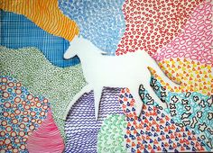 Sempreall'interno delprogetto Textures condivise , gli alunni di prima A hanno disegnato la sagoma  di un animale, diviso lo sfondo...