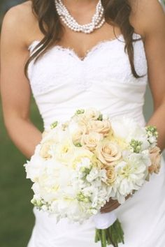 White, ivory, and champagne wedding bouquet - My wedding ideas