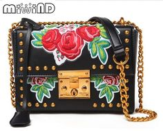 40c96fd74b9e71 US $38.5 |Miwind F 24CM larger size quality rose flowers embroidery hasp  crossbody chain bag,ladies luxury famous messenger shoulder bags-in  Shoulder Bags ...