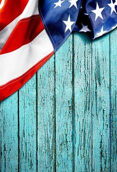 Wooden Backdrop Blue Background American Flag J05072