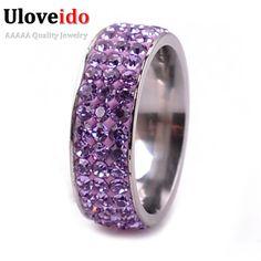 Uloveido púrpura rosa de acero inoxidable anillo de compromiso anillos con piedras joyería de la vendimia de las mujeres bijoux femme venta de navidad yl003