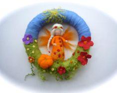 Fairy Wreath. Felted .Waldorf. Elf. Summer Spring por FilzArts