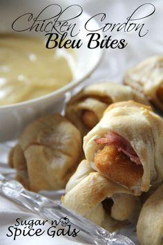 Chicken Cordon Bleu Bites w/ Honey Mustard Dipping Sauce