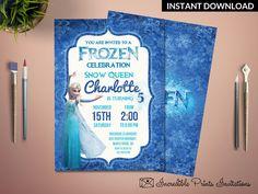 Printable Frozen Girl Birthday Party Invitation Template. Elza Birthday Party Invitation. Blue Glitter 5th Birthday Invitation. by HandmadeIncredible on Etsy