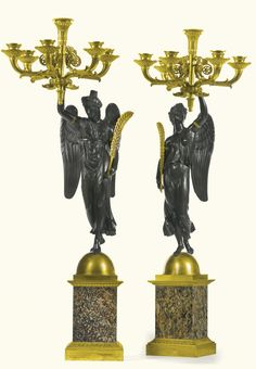 A pair of Empire gilt and patinated bronze six light candelabra early 19th century | Lot | Sotheby's