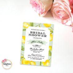 Lemon Bridal Shower Invitation - Vintage Style Lemon - Southern Belle - Printable Invitation - Watercolor - Digital Invitation