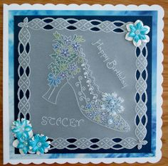 Parchment card using Maria Maidment designed Groovi plate.