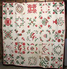 1867 Historical Antique American Folk Art Baltimore Album Applique Quilt   sold  5600.00