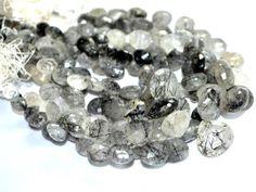 Black rutile Heart faceted beads strands (Code-22\67).. #blackrutile #heartfacetedbeads