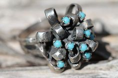 Vintage Sterling Silver Bow Dome Cluster Ring with Turquoise Stones | eBay