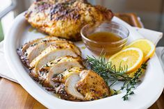 The perfect alternative to roasting a whole turkey, these savory roasted turkey breasts are glazed with orange, spiced honey, and roasted to perfection.