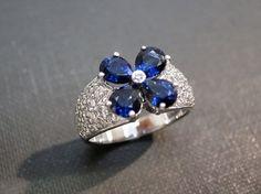 Sapphire Diamond Diamond Ring