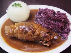 My friend mom made this. Awesome food! Right Food for Autumn  German Beef Roll,Red Cabbage,Potatoe Dumpling