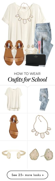 6 Days Left Of School! by twaayy on Polyvore featuring HM, Blu Bijoux, Wrap, Steve Madden, Kate Spade, Kendra Scott and Stila