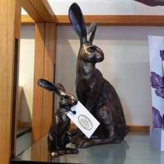 Two hares part of a cute collection of bronzes for sale. #nationaltrust #devon #saltram #ntretail