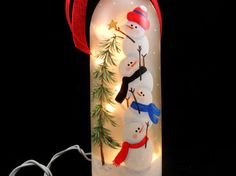 Lighted Wine Bottle Snowman Frosted Hand by PaintingByElaine