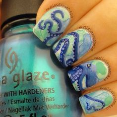 Watercolor Octopus Nails