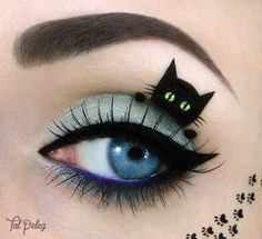 Carnival-makeup-eye make-up eyeliner cat-black-blue Source by Creative Eye Makeup, Eye Makeup Art, Eye Art, Makeup Eyeshadow, Fairy Makeup, Makeup Artistry, Witch Makeup, Eyeshadow Palette, Costume Makeup