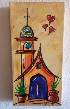 Retro Art By Jan Pop Art Folk Sedona Original painting chapel church wedding