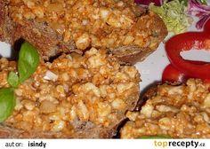 Romadur ala tatarák recept - TopRecepty.cz Baked Potato, Grains, Rice, Potatoes, Vegetarian, Treats, Chicken, Baking, Vegetables