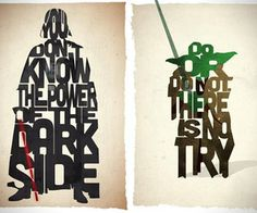 Pete Ware has crafted our favorite Star Wars characters out of words and quotes that describe each one of them.