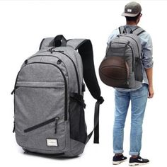 e44f91182097 Basketball backpack - Outdoor Travel Bag with Basketball Net #fashion  #clothing #shoes #