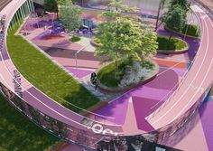 Image 21 of 67 from gallery of KOSMOS Architects Wins Competition for Landmark Nike Sports Park in Moscow. Photograph by Nike Architecture Concept Drawings, Russian Architecture, Urban Architecture, Park Landscape, Landscape Photos, Landscape Design, Kids Outdoor Spaces, Plaza Design, Restaurant Plan