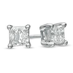 1/2 ct Princess Cut Natural Diamond Solitaire Stud Earrings in 14K White Gold by JewelryHub on Opensky