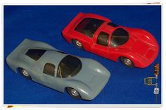 Vintage Eldon Red Prosche Carrera And Gray P-3 FERRARI Slot Cars