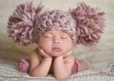 Baby Girl Hat Pom Pom by chloescrochetcloset