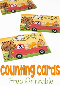 These free printable pumpkin counting cards are a great hands-on way to introduce counting to your preschooler! Load up the pumpkin truck with numbers and have some math fun this fall! Fall Preschool Activities, Numbers Preschool, Counting Activities, Preschool Printables, Preschool Math, Kindergarten Math, Toddler Activities, Number Activities, Space Activities