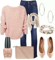 Like the pink sweater, scarf, bracelet and skinny jeans.  Like the purse as well, but I'm not into changing purses all the time, so not too sure about that.  Shoes don't really look comfortable, but like the color.