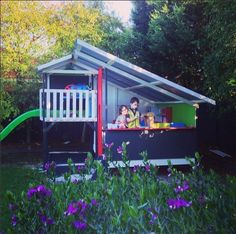 No need to prepare for an outing when you are playing in your own backyard - woo hoo! #kids #play #cubbyhouse #cubby #outdoorplay