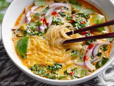 This Thai Curry Vegetable Soup is packed with vegetables, spicy Thai flavor, and creamy coconut milk. Ready in about 30 minutes! Step by step photos.