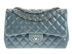 Chanel Slate Blue Double Flap Jumbo Bag Available At Designer Vault