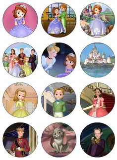 Sofia the First Edible Cupcake Toppers 12 Princess Sophia  images for cupcakes, cookies, cake, brownies any dessert birthday. $6.50, via Etsy.