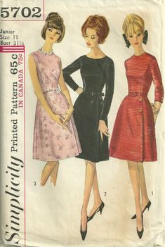 Simplicity 5702 1960s Elegant  A Line Dress pattern womens vintage sewing patternby mbchills,