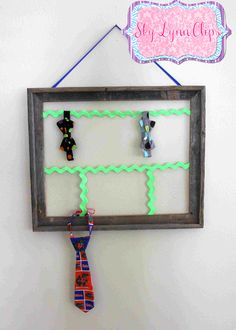 Easy to Make, Child's Bow Tie & Neck Tie Holder. All you need is a frame and some ribbon <3