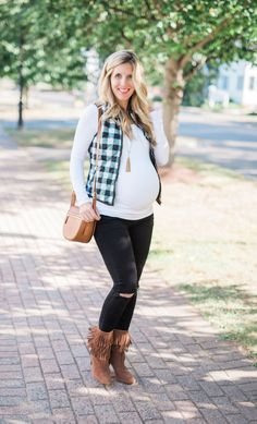 38 Week Maternity Outfit // Checkered Vest // Fall Maternity Style // Maternity Fashion Ideas // Lynzy & Co.