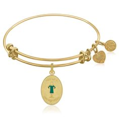Expandable Bangle in Yellow Tone Brass with Son Of A Nutcracker Symbol