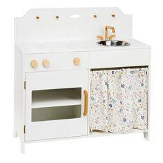 JEUX D'ENFANT Archives - Sunday Grenadine Wooden Play Kitchen, Kids Play Kitchen, Play Kitchens, Kitchenette, Large Furniture, Painted Furniture, Coat Pegs, Metal Sink, Scandinavian Design