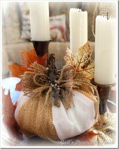 fabric and burlap pumpkin
