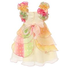 Richie House Girl's Cream Dress with Multilayered Pastel Ruffles and Pearl Accents RH0920-B-4/5