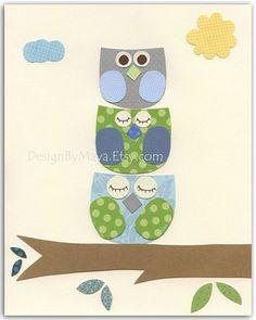 Owl Decor  Nursery Print For Baby Boy's Room by DesignByMaya