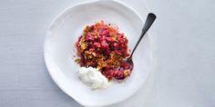 Rhubarb + Strawberry Crumble via @iquitsugar