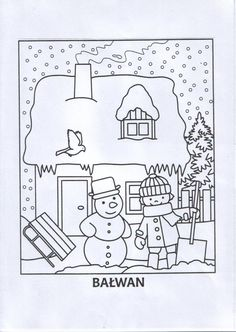 Kleurplaat sneeuw voor kleuters / zimowa-kolorowanka